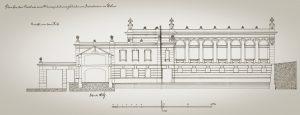 Ukázka ze stavební dokumetace řešení nivelací tovární budovy Bílinská kyselka